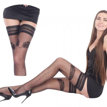Orirose, SEXY włoskie POCZOCHY samonośne z subtelnym wzorem