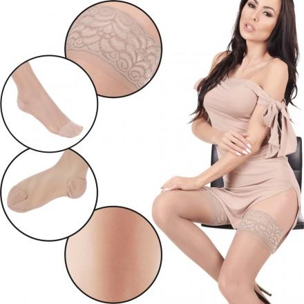 Orirose, włoskie ZAPACHOWE pończochy przeciwżylakowe o I stopniu ucisku 11/14 mmHg hPa 15/19 - stopniowy ucisk, struktura plastra miodu, anatomicznie dopasowane do kształtu nogi, wzmocniona pięta