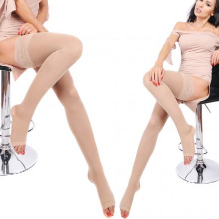 Orirose, włoskie BEZPALCOWE pończochy przeciwżylakowe o I stopniu ucisku 11/14 mmHg hPa 15/19 - stopniowy ucisk, struktura plastra miodu, anatomicznie dopasowane do kształtu nogi, wzmocniona pięta